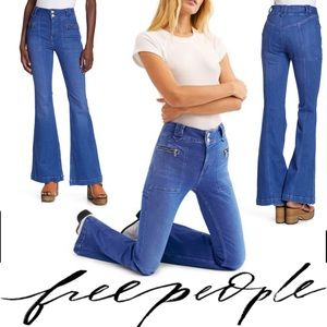 🆕Free People Layla Retro Flared Blue Jeans 32